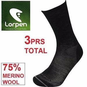 3PR NEW LORPEN SOCKS WOMEN'S 6-8.5/MEN'S 5-7   SMALL - T2 MERINO LINER SOCK - 75% MERINO WOOL 97091447