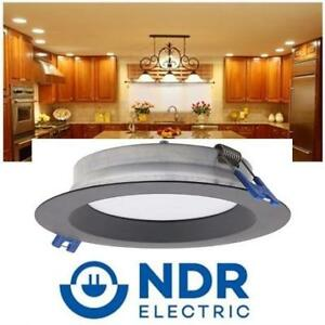"""NEW SLIM RECESSED LED DOWNLGHT RZR-400-9W-3K-BLK 186819980 9W 3000K NDR ELECTRIC 4"""" MODULE ULTRA THIN DIMMABLE 600LUM..."""