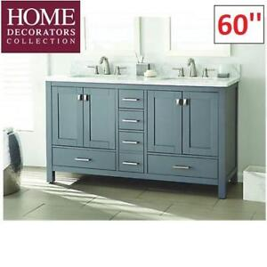 """NEW* HOME DECORATORS VANITY 60"""" WSHC60RGV 219433379 FRANKLIN GREY WITH MARBLE TOP"""