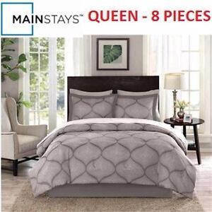 NEW MAINSTAYS QUEEN BED IN A BAG   DOT DAMASK - 8 PIECES HOME BEDDING BEDROOM BLANKET COMFORTER 93783455