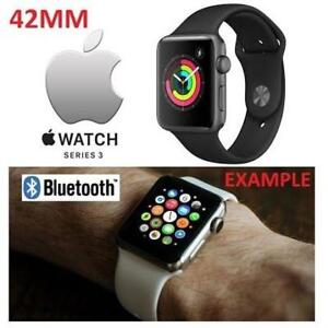 RFB APPLE WATCH SERIES 3 42MM MQL12LL/A 178183230 SPACE GREY ALUMINUM W/ BLACK SPORT BAND GPS REFURBISHED