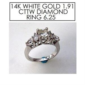 NEW* STAMPED 14K DIAMOND RING 6.25 JEWELLERY - WHITE GOLD - 1.91 CTTW