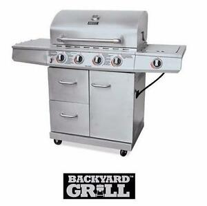 NEW* BACKYARD GRILL 4-BURNER BBQ SS STAINLESS STEEL - 48000 BTU AND 12000 BTU SIDE BURNER BARBECUE  82783525