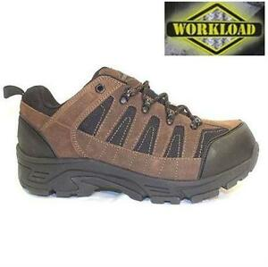 NEW WORKLOAD SAFETY BOOTS MEN'S 11 TITANIUM COATED TOE SHOE - BROWN - CSA WORK - STEEL TOE