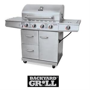 NEW* BACKYARD GRILL 4-BURNER BBQ SS  STAINLESS STEEL - 48000 BTU AND 12000 BTU SIDE BURNER BARBECUE  77559592
