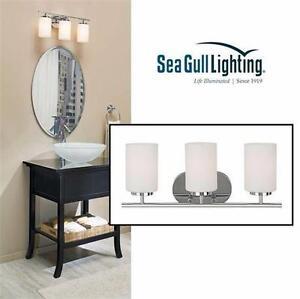 NEW SEA GULL LIGHTING VANITY LIGHT BATHROOM LIGHITNG Oslo 3-Light Chrome Vanity Light  90678182