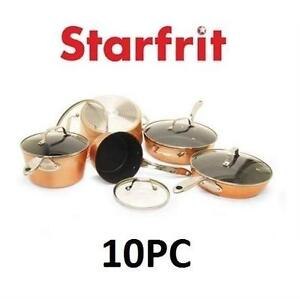 NEW OB STARFRIT 10PC COOKWARE Starfrit The Rock 10 piece Copper Finish NONSTICK Cookware Set - NEW OPEN BOX 106789007