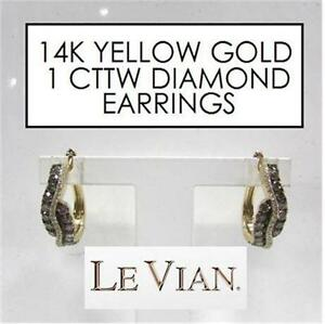 NEW* LEVIAN 14K DIAMOND EARRINGS JEWELLERY - JEWELRY 14K YELLOW GOLD 1 CTTW DIAMOND STAMPED CHOCOLATE LE VIAN   83758783
