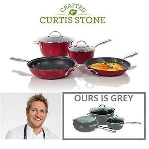 NEW CURTIS STONE 6PC COOKWARE SET   Curtis Stone 6-Piece DuraPan Cookware Set - GREY   88571832