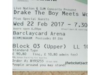 1 x Drake seated ticket for Birmingham