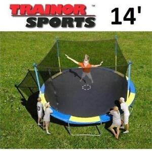 USED* TRAINOR SPORTS 14' TRAMPOLINE 1235314 209730904 W/ ENCLOSURE TRAMPOLINES BOUNCER BOUNCERS JUMPING