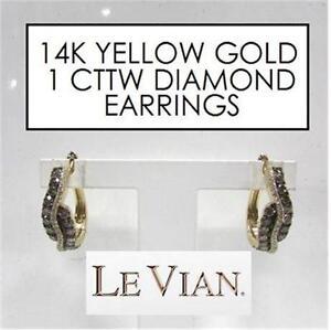 NEW* LEVIAN 14K DIAMOND EARRINGS JEWELLERY - JEWELRY 14K YELLOW GOLD 1 CTTW DIAMOND STAMPED CHOCOLATE LE VIAN   83758783