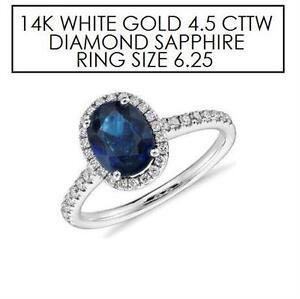 NEW* STAMPED 14K DIAMOND RING 6.25 JEWELLERY - 14K WHITE GOLD - NATURAL BLUE SAPPHIRE - 4.5 CTTW DIAMOND