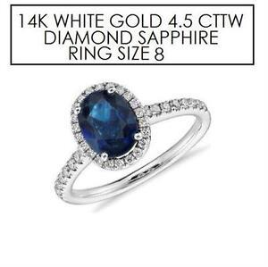 NEW* STAMPED 14K DIAMOND RING 8 JEWELLERY - 14K WHITE GOLD - NATURAL BLUE SAPPHIRE - 4.5 CTTW DIAMOND
