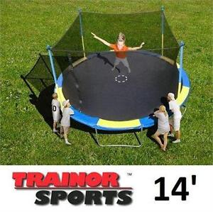 NEW TRAINOR SPORTS 14' TRAMPOLINE W/ ENCLOSURE BOUNCER RECREATION PLAYING KIDS GAME
