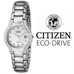 NEW* WOMEN'S CITIZEN ECO SS WATCH JEWELLERY - ECO DRIVE - 26MM - STAINLESS STEEL - DIAMOND ACCENTS - ANALOG