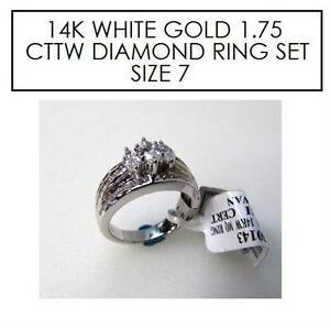 NEW* STAMPED 14K DIAMOND RING 7 JEWELLERY - RPG 14K WHITE GOLD - 1.75 CTTW DIAMOND - SIZE 7