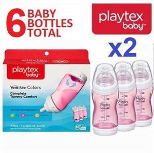 2 NEW 3PK PLAYTEX BABY BOTTLES 9OZ 07364 244600077 VENTAIRE BPA FREE WITH UNIQUE ANTI COLIC BOTTOM VENT PINK
