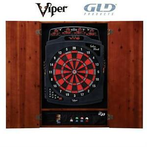 NEW VIPER DARTBOARD CABINET Soft Tip Electronic Dart board Cabinet, Cinnamon Finish DARTS Leisure Sports Game Room