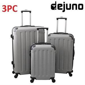 NEW DEJUNO 3PC LUGGAGE SET SILVER - TRAVEL - SUITCASE - DEPARTURE GEAR BAG