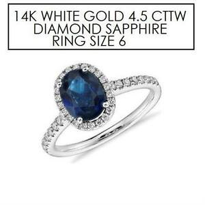 NEW* STAMPED 14K DIAMOND RING 6 JEWELLERY - 14K WHITE GOLD - NATURAL BLUE SAPPHIRE - 4.5 CTTW DIAMOND  85625644