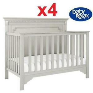 4 NEW BABY RELAX EDGEMONT BABY CRIB 222632136 CONVERTIBLE 5 IN 1 SOFT GRAY DAYBED FULL SIZE BED