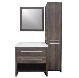 Vanité Meuble + lavabo + lingerie et miroir -  chêne Alamo NEW!