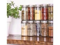 Set of 2 New Chrome Coloured Lids Refillable Clear Glass Spice Herbs Jars Holders.