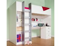 CABIN SINGLE BED - CHILDRENS HIGH SLEEPER - GOOD CONDITION - QUICK SALE - MUST GO RRP £429 WARDROBE