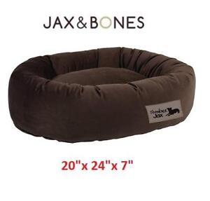 NEW JAX AND BONES PET DONUT DOG BED 2024-SPBU-DO 210350007 SlumberJax Donut Dog Bed Spa Burlap Small 20x24x7 Inch