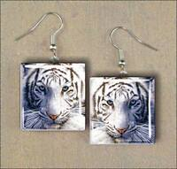 *BRAND NEW* SQUARE GLASS SIBERIAN TIGER EARRINGS