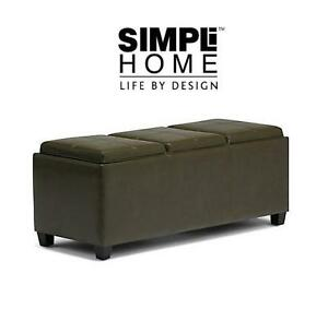 NEW SH OTTOMAN W/ 3 SERVING TRAYS SIMPLI HOME Avalon Extra Large Rectangular Storage Ottoman with 3 Serving Trays