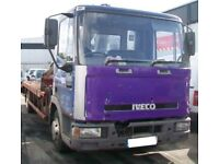 Ford Iveco tector bevertail recovery truck with hiab crane selling as spares or repair offerswelcome