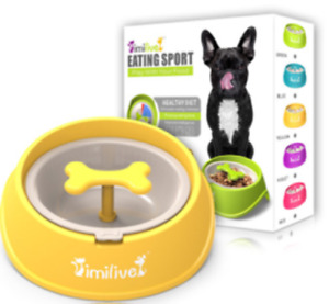 Pet Dog and Cat Slow Feeder Bowl with Rotating Hinder 5colors
