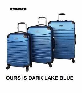 NEW 3PC CIAO SPINNER LUGGAGE SET   DARK LAKE BLUE - HARD-SIDE - VOYAGER BAG - SUITCASE BAGGAGE SPINNER TRAVEL 96550404