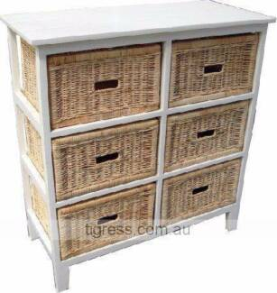 Bondi 6 DWR Cabinet Tall Cane Basket Storage FLOOR STOCK Castle Hill The Hills District Preview