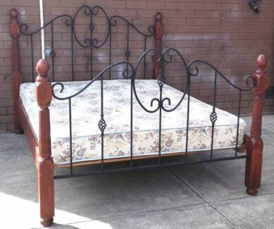 beautiful wooden and metal frame queen bed with mattress