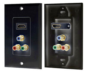 HDMI/ 3 ( RGB/RCA ) Component Combo Wall Plate
