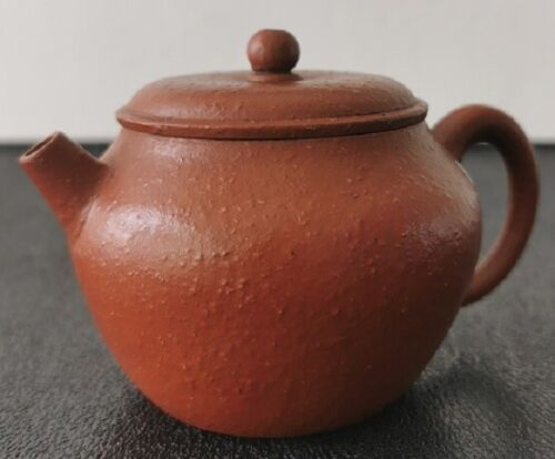Chinese Yixing zisha 朱泥 teapot with markings 150cc original great patina 大口蓋