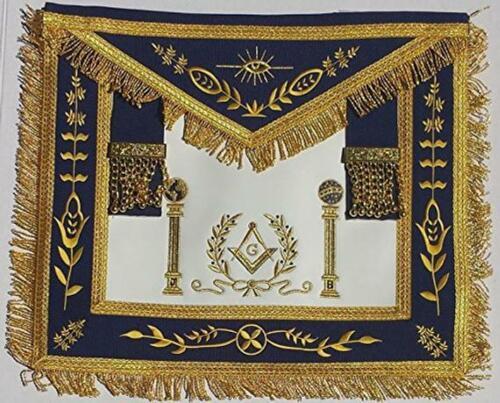 Masonic Navy Blue Apron Master Mason Square G & Pillars Freemasons Gold Fringe