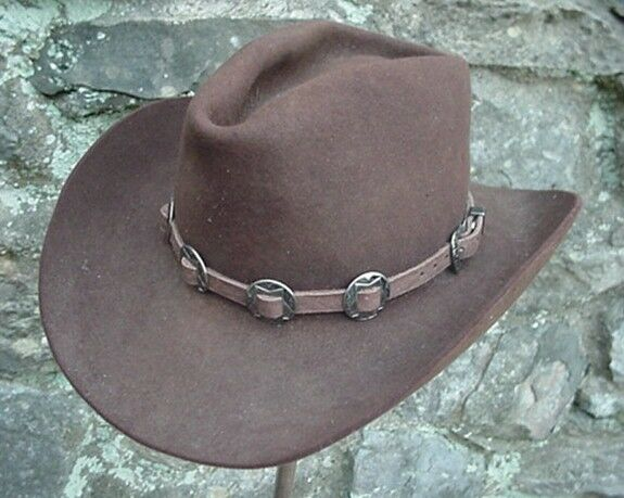 Dangerous Threads Western Hatband Hat Band Brown Leather with 10 Nickel Conchos New!