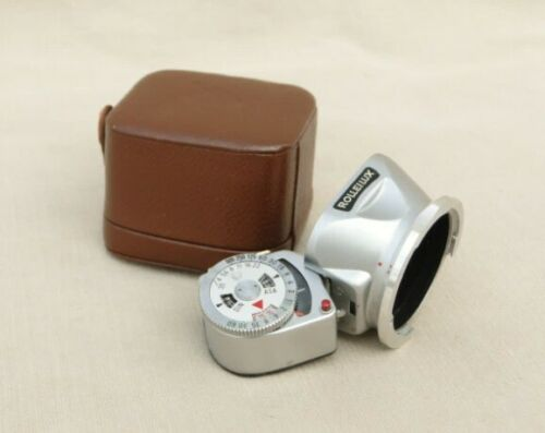 vintage Rolleilux meter and shade in case - Rolleiflex 3.5 twin lens cameras
