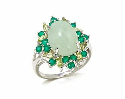 Jade of Yesteryear Green jade, Chalcedony & Peridot Sterling Silver Ring Size 10
