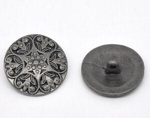 20 Antik Silber Metall Muster Buttons Knöpfe 25mm