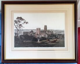 """Limited edition print of Durham Cathedral and Castle - mahog. frame.36"""" x 30"""" Cost £180 Sell £30"""