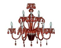 The Lighting Guy - NEW Shimmering Red Lucite Chandelier