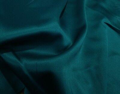TEAL GREEN HEAVY WEIGHT STRETCH LAMOUR DULL BRIDAL SATIN FABRIC SLS-24  - Green Stretch Satin