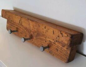 New Soild wood rustic with shelf Coat rack/hook