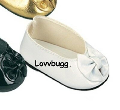 "Lovvbugg White Patent Ballet Flats Bow for 18"" American Girl or Bitty Baby Doll Shoes"