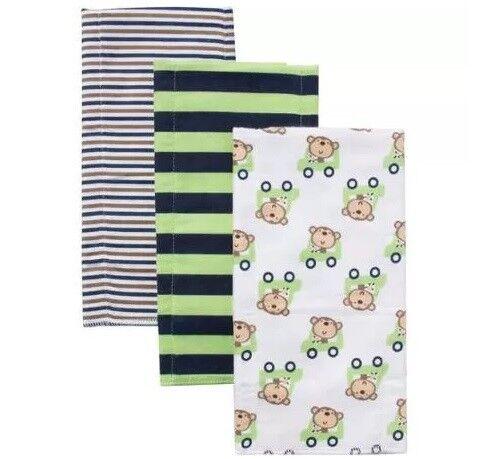 Gerber Baby Boy 3-Pack Monkey Flannel Burp Cloths; BABY CLOT